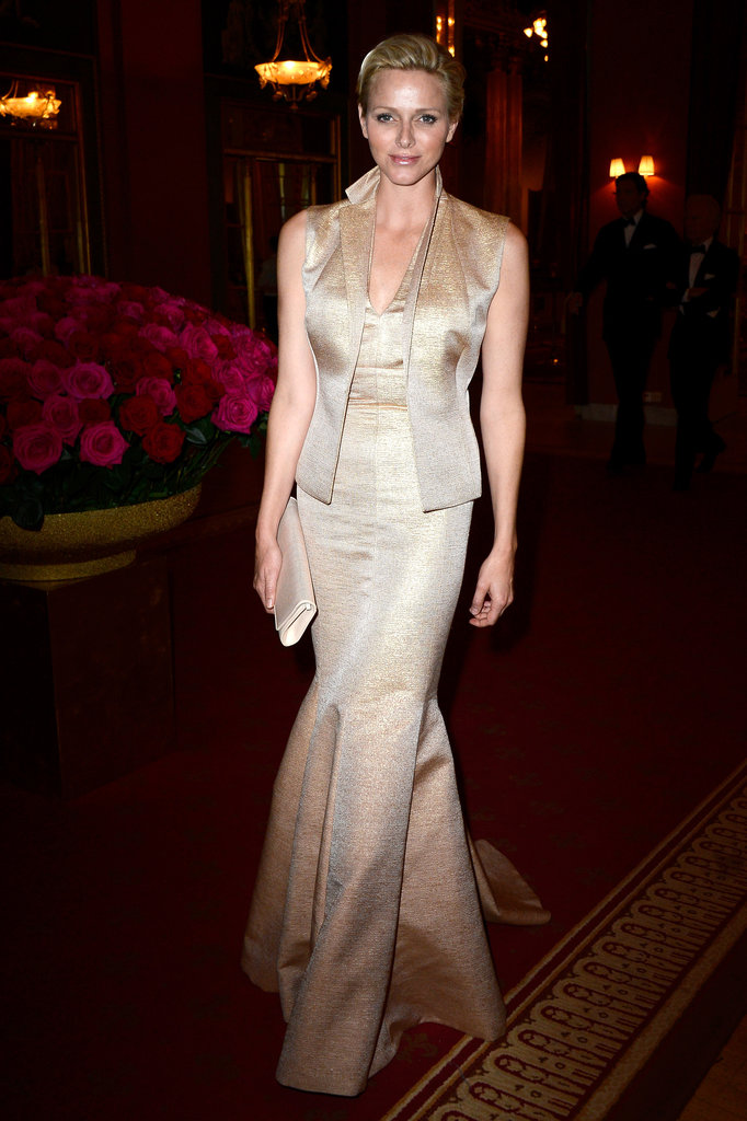 Princess Charlene of Monaco at a private dinner in honor of Princess Madeleine and Christopher O'Neill's wedding in Stockholm, Sweden.