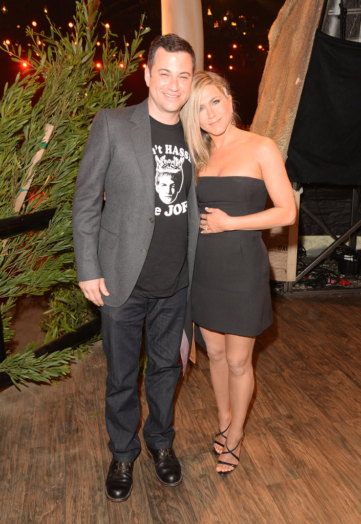 Jimmy Kimmel and Jennifer Aniston posed together backstage at the Guys Choice Awards.