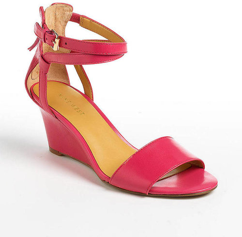 NINE WEST Reelymind Leather Wedge Sandals