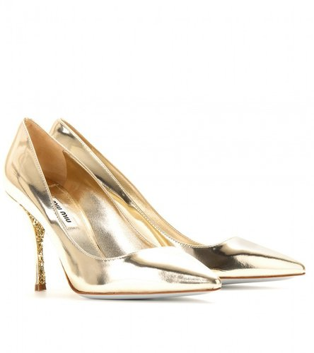 Miu Miu GLITTER-SOLED PATENT LEATHER PUMPS
