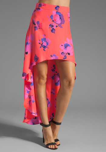 Karina Grimaldi Call Print Uneven Skirt in Neon Floral