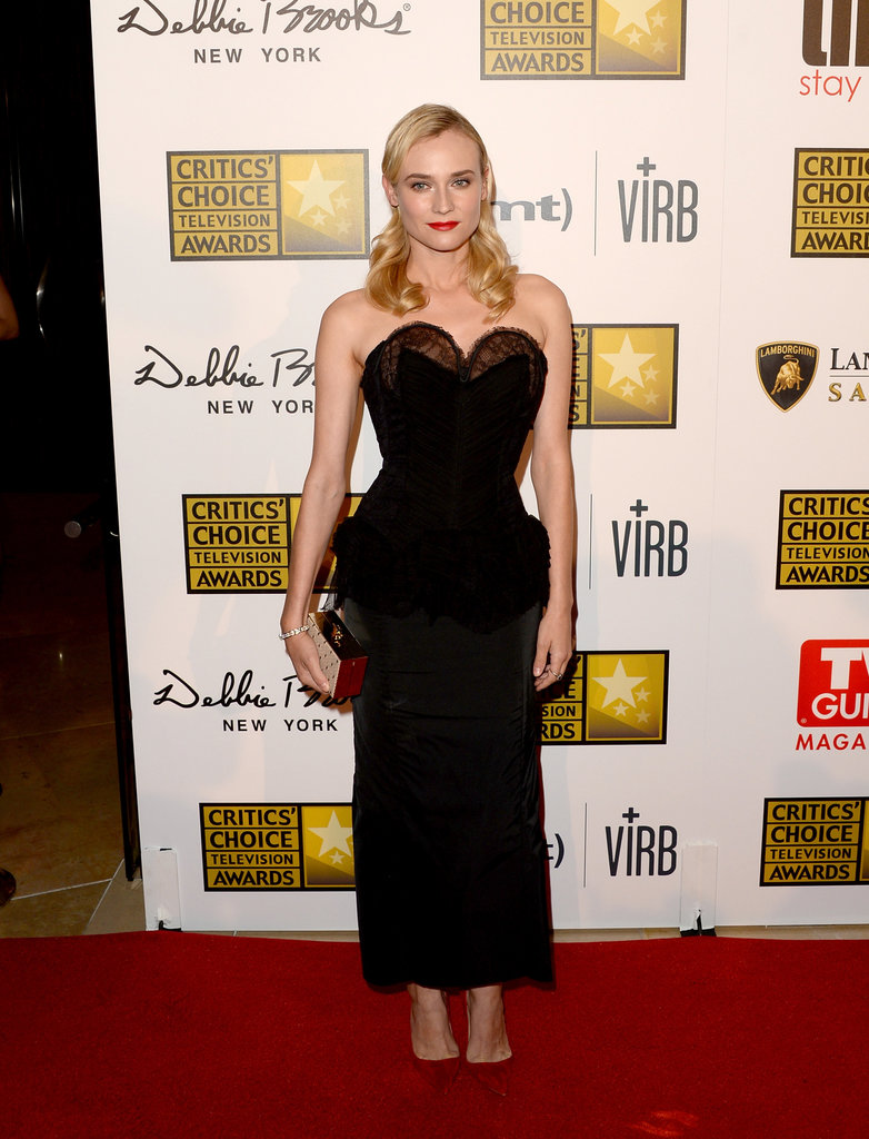Diane Kruger got dressed up in a Nina Ricci dress to hit the red carpet at the Critics' Choice Television Awards at the Beverly Hilton in LA.