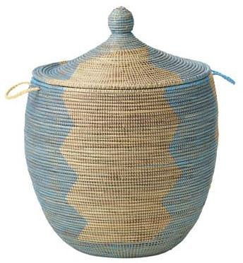 Senegalese Storage Basket - Blue, Large