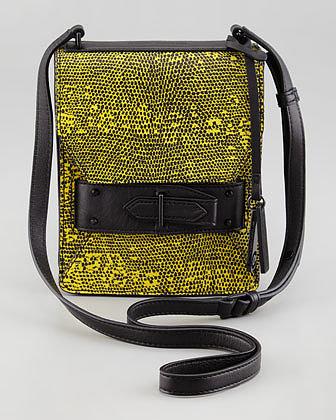 10 Crosby Derek Lam Lizard Embossed Folio Crossbody Bag, Yellow