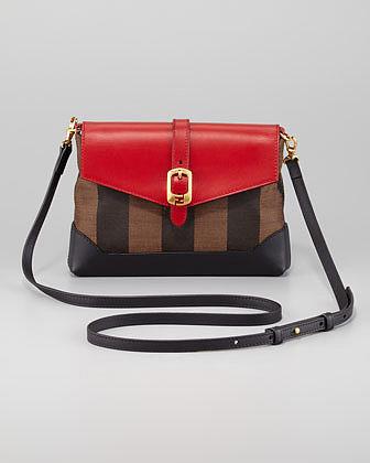 Fendi Pequin Pouchette Bag, Tobacco/Red/Black