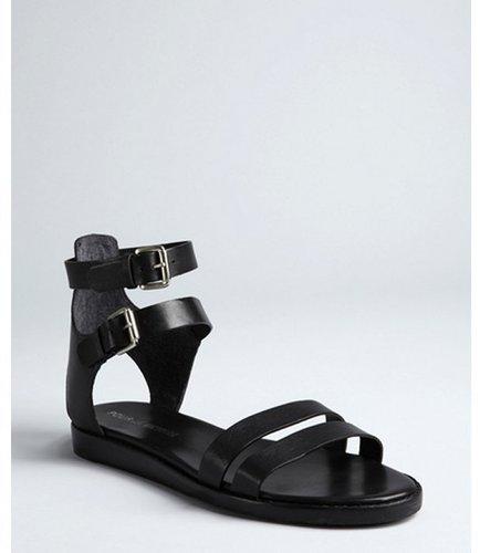 Pour la Victoire black leather double buckle straps 'Edilia' flat gladiator sandals