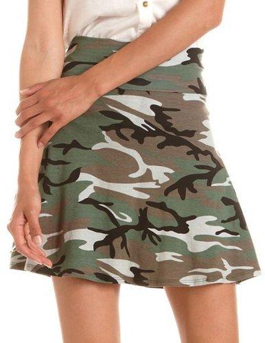 Camo Print Skater Skirt