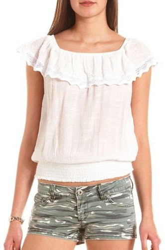Ruffled Crochet Banded Bottom Top