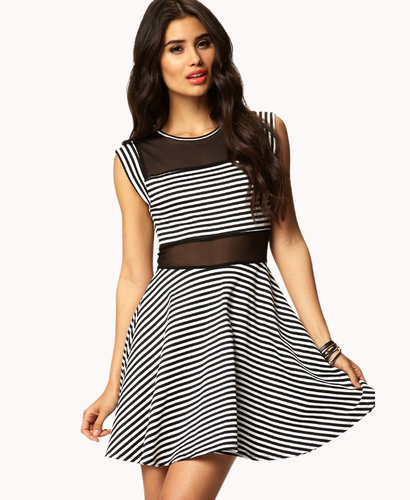 FOREVER 21 Striped & Mesh Skater Dress