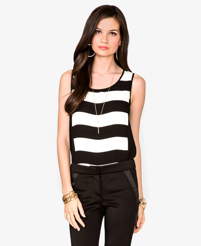 FOREVER 21 Striped Zippered Top