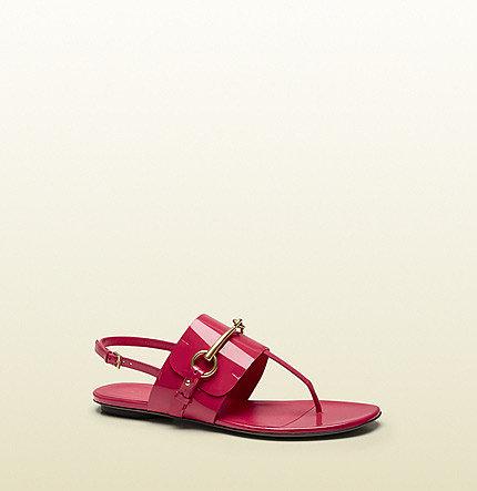 Ursula Shocking Pink Patent Leather Thong Sandal