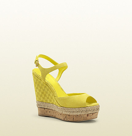 Hollie Yellow Suede Open Toe Wedge