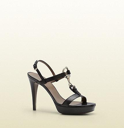 Soft Icon Black Leather High-Heel Platform Sandal