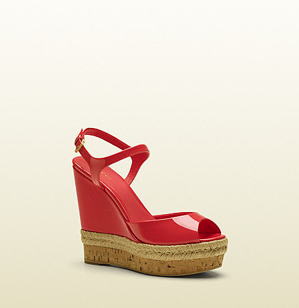 Hollie Pink Patent Leather Open Toe Wedge
