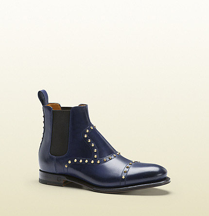 Linley Blue Leather Studded Bootie