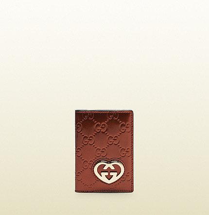Burnt Orange Shiny Gg Leather Mini Id Wallet