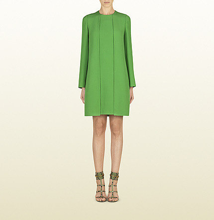 Green Silk Dress With Cutout Details On The Back