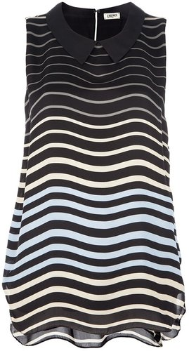 L'agence stripe sleeveless blouse