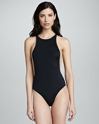 OYE Swimwear Stella High-Neck Nude-Insert One-Piece Swimsuit, Black