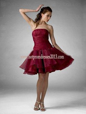 Strapless A-line Short Knee-length Chiffon Prom Dress