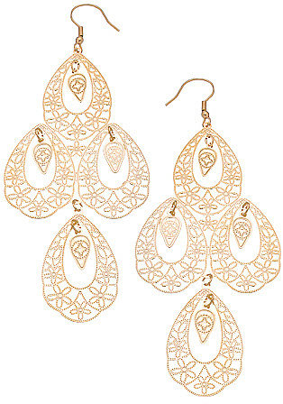 Gold Filigree Four Teardrop Earrings