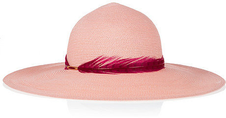 Eugenia Kim Honey feather-trimmed toyo and cotton-blend sunhat