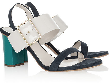 Jil Sander Tri-tone suede and patent-leather sandals
