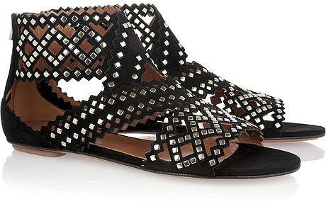 Alaïa Studded cutout suede sandals