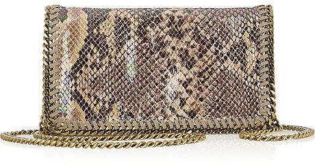 Stella McCartney The Falabella laminated faux python shoulder bag
