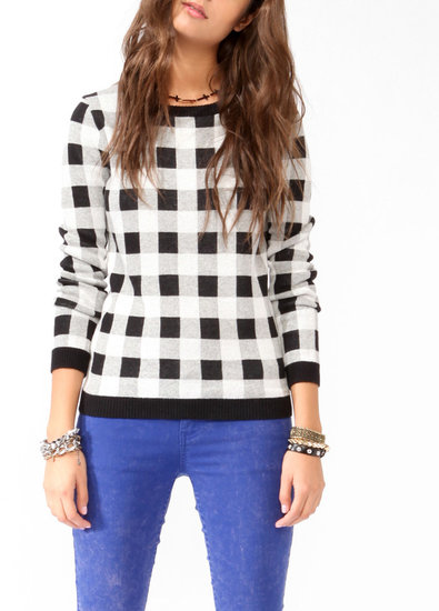 FOREVER 21 Checkered Knit Sweater