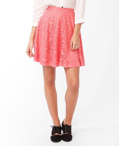 FOREVER 21 Lace Overlay A-Line Skirt