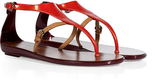 Sergio Rossi Paprika/Beige PVC/Leather Thong Sandals