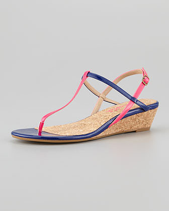 Splendid Edgewood Low-Wedge Sandal, Flamingo/Navy