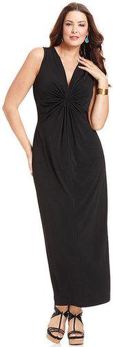 Elementz Plus Size Dress, Sleeveless Gathered Maxi
