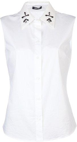 Jil Sander Navy Shirt beaded collar