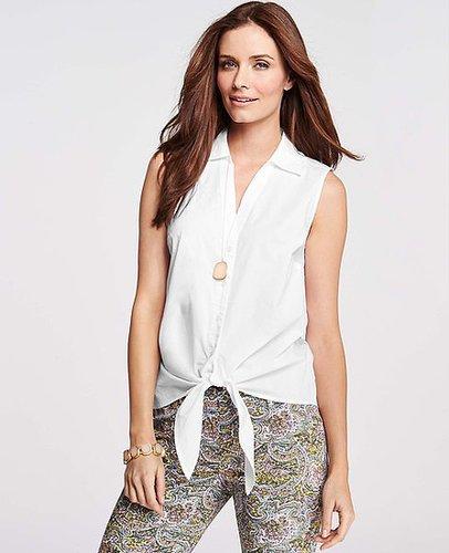 Stretch Cotton Tie Front Shirt