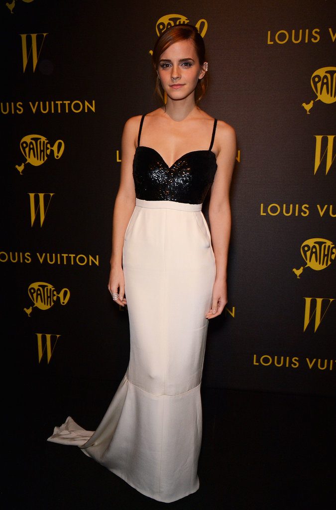At the premiere of The Bling Ring during the Cannes Film Festival, Emma Watson donned a black and white gown featuring a bustier-style bodice.