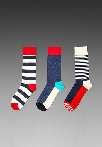 Happy Socks 3 Pack in Stripe Half/Stripe/Five Colour