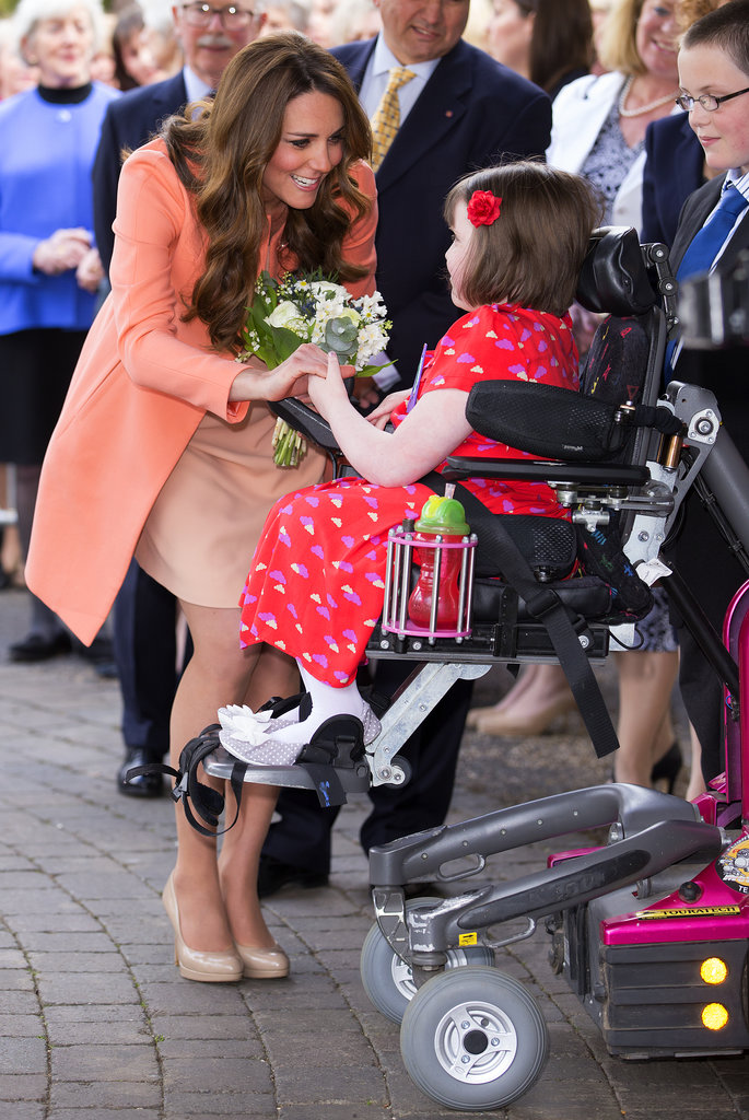 Kate Middleton celebrated her wedding anniversary in April 2013 by visiting the Naomi House Children's Hospice in Hampshire, England.