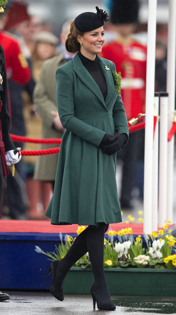 Kate Middleton celebrated St. Patrick's Day 2013 by visiting the barracks at Aldershot, England, to pin clovers on soldiers.