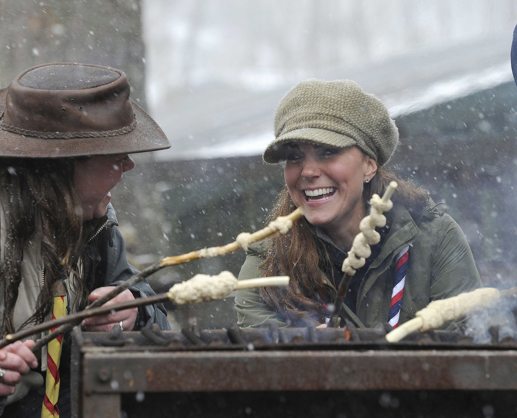 Kate showed off her camping skills when she attended a volunteer training day for the Scouts in Cumbria, England, on March 22, 2013.
