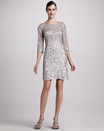 Sue Wong Three-Quarter-Sleeve Embellished Cocktail Dress