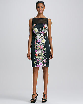 Badgley Mischka Collection Sleeveless Floral-Panel Cocktail Dress