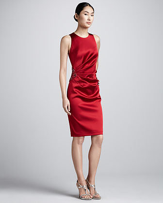 David Meister Bead-Hip Ruched Cocktail Dress