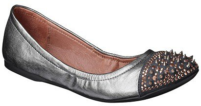 Women's Xhilaration® Orabella Studded Scrunch Ballet Flat - Pewter