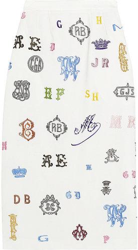 Stella McCartney Carroll monogram-embroidered wool midi skirt