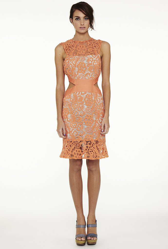 Prim and proper lace is after-dark appropriate with waist cutouts like the sultry ones seen on this Suboo dress ($350).