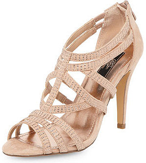 DP Occasion Nude caged gem sandals