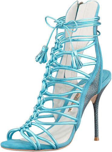 Sophia Webster Lacey Metallic Multi-Strap Tassel Sandal