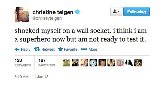 We can't help but wonder what Chrissy Teigen's superhero name would be.
